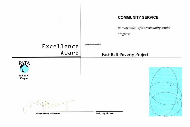 2001, Excellence award from PATA